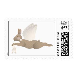 Brown Angel Rabbit With Orange Wings Postage Stamp