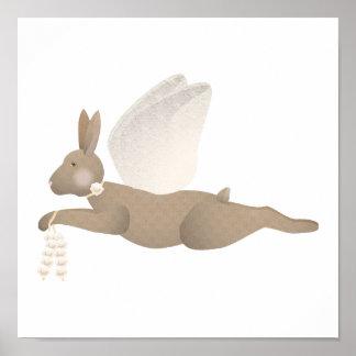 Brown Angel Rabbit With Orange Wings Poster
