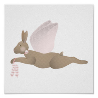 Brown Angel Rabbit With Pink Wings Poster