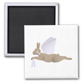 Brown Angel Rabbit With Purple Wings 2 Inch Square Magnet