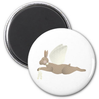 Brown Angel Rabbit With Yellow Wings 2 Inch Round Magnet