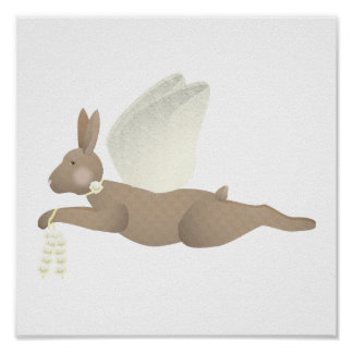 Brown Angel Rabbit With Yellow Wings Poster