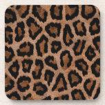 Brown animal print pattern coaster