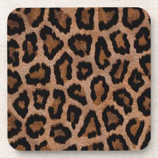 Brown animal print pattern drink coaster