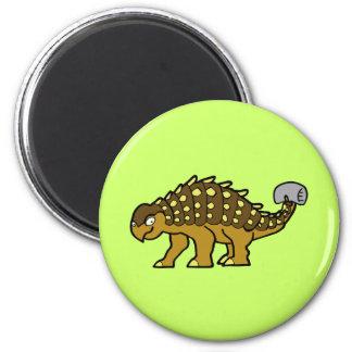 Brown Ankylosaurus 2 Inch Round Magnet