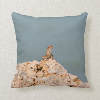 brown anole on holey rock with flower lizard pillow