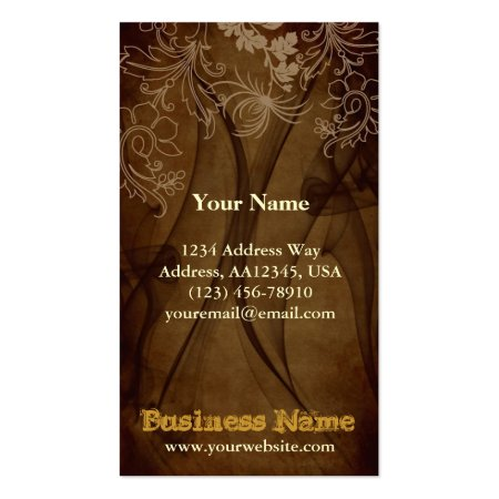 Brown Chiffon Floral Antique Business Cards