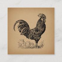 Brown Antique Rooster Illustration Chicken Art Enclosure Card