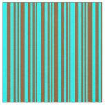 [ Thumbnail: Brown & Aqua Colored Stripes Pattern Fabric ]