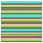 [ Thumbnail: Brown, Aqua, Dark Green, Green, and Light Pink Fabric ]