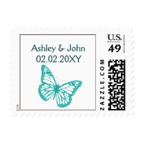 Brown Aqua Lime Butterfly Simple Wedding Invites Postage