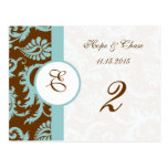 Brown & Aqua Trim Damask Swirls Table Number Cards Postcards
