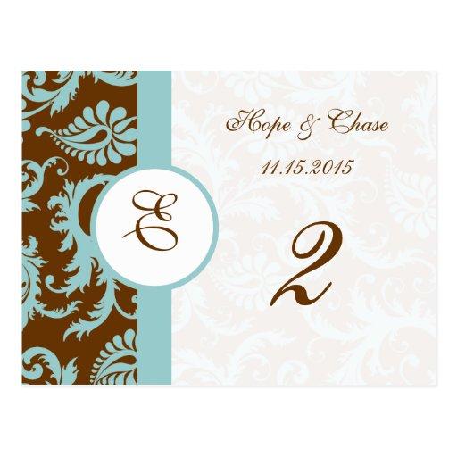 Brown & Aqua Trim Damask Swirls Table Number Cards Postcards