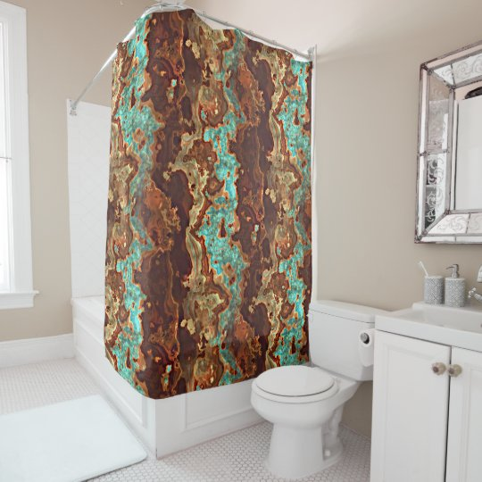 Brown Aqua Turquoise Green Geode Marble Pattern Shower Curtain