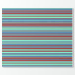 [ Thumbnail: Brown, Aquamarine, and Blue Lined Pattern Wrapping Paper ]