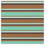 [ Thumbnail: Brown, Aquamarine, Beige, and Black Colored Lines Fabric ]