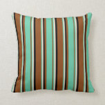 [ Thumbnail: Brown, Aquamarine, Beige, and Black Colored Lines Throw Pillow ]