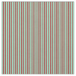 [ Thumbnail: Brown & Aquamarine Colored Lined Pattern Fabric ]