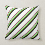 [ Thumbnail: Brown, Aquamarine, Green, Black & White Colored Throw Pillow ]