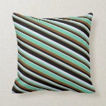 [ Thumbnail: Brown, Aquamarine, Lavender, and Black Colored Throw Pillow ]