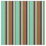 [ Thumbnail: Brown, Aquamarine, Lavender & Black Colored Lines Fabric ]