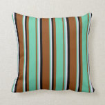[ Thumbnail: Brown, Aquamarine, Lavender & Black Colored Lines Throw Pillow ]