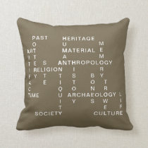 Brown Archaeology & Anthropology Crossword Puzzle Throw Pillow