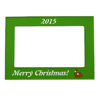 Brown Arctic Hare with Christmas Green Santa Hat Magnetic Photo Frame