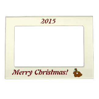 Brown Arctic Hare with Christmas Green Santa Hat Picture Frame Magnets