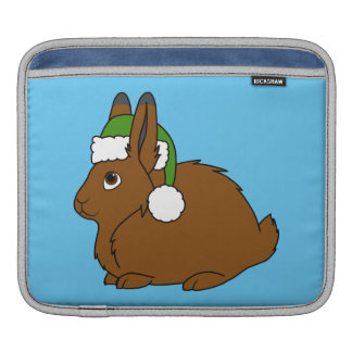 Brown Arctic Hare with Christmas Green Santa Hat Sleeve For iPads
