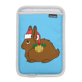 Brown Arctic Hare with Santa Hat & Gold Bell iPad Mini Sleeve