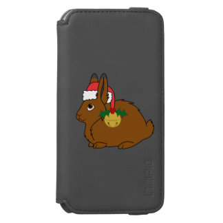 Brown Arctic Hare with Santa Hat & Gold Bell iPhone 6/6s Wallet Case