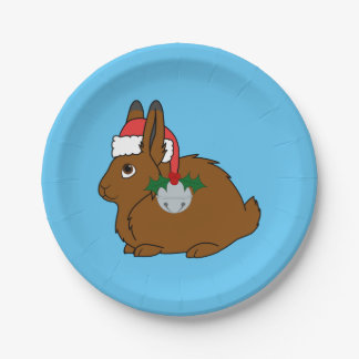 Brown Arctic Hare with Santa Hat & Silver Bell Paper Plate