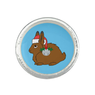 Brown Arctic Hare with Santa Hat & Silver Bell Photo Rings
