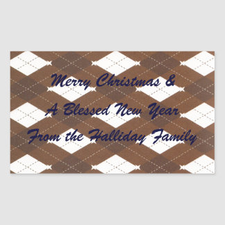 Brown Argyle Christmas Personalized Food Label