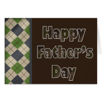 brown argyle Father's Day greetings Card