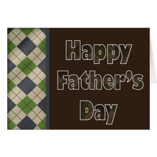 brown argyle Father's Day greetings Greeting Cards