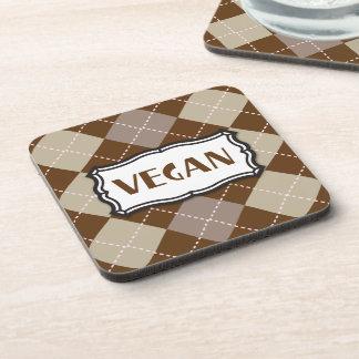 Brown Argyle Vegan Pride Beverage Coaster