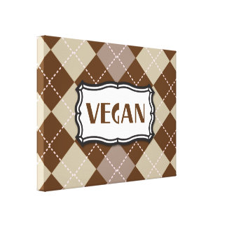 Brown Argyle Vegan Pride Canvas Print