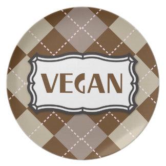 Brown Argyle Vegan Pride Dinner Plate