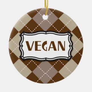 Brown Argyle Vegan Pride Double-Sided Ceramic Round Christmas Ornament