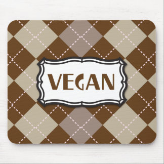 Brown Argyle Vegan Pride Mouse Pad