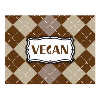 Brown Argyle Vegan Pride Postcard