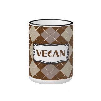 Brown Argyle Vegan Pride Ringer Coffee Mug