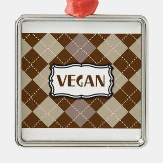 Brown Argyle Vegan Pride Square Metal Christmas Ornament