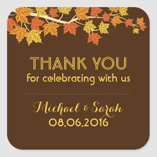 Brown Autumn Maple Leaves Fall Thank You Sticker Square Stickers