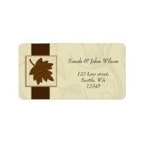 brown autumn wedding ,return address label
