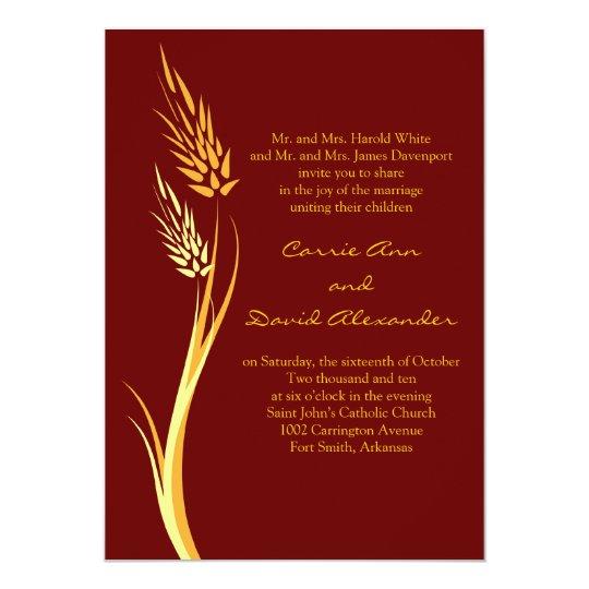Brown Autumn Wheat Wedding Invitation