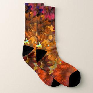 Brown autumnal floral pattern socks