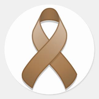 Brown Awareness Ribbon Round Sticker